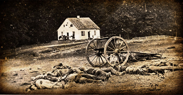 Dead soldiers surrounding the Dunker Church following the Battle of Antietam,  September 17, 1862.